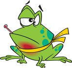 cartoon frog with a thermometer and sore throat