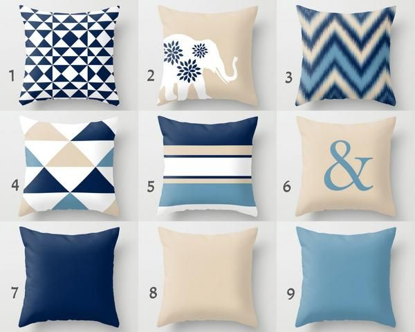 Navy Beige Pillow Covers, Throw Pillows, Decorative Pillow Cover, Accent Pillow Covers, Home Decor, Geometric, ampersand, elephant