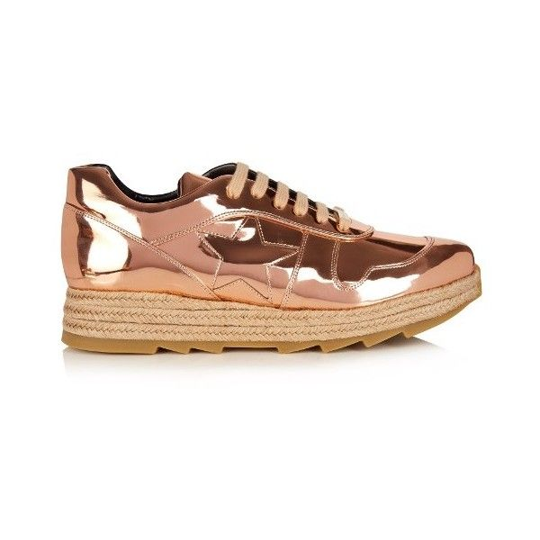 Stella McCartney Macy faux-leather trainers (£290) ❤ liked on Polyvore featuring shoes, sneakers, rose gold, wedge heel sneakers, woven sneakers, stella mccartney sneakers, vegan shoes and wedge shoes