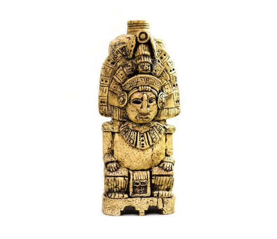 Aztec Handmade bottle Decorated bottle Mayan statue decor Maya style Personalized gift aztec decor Mission Style bottle Custom bottle
