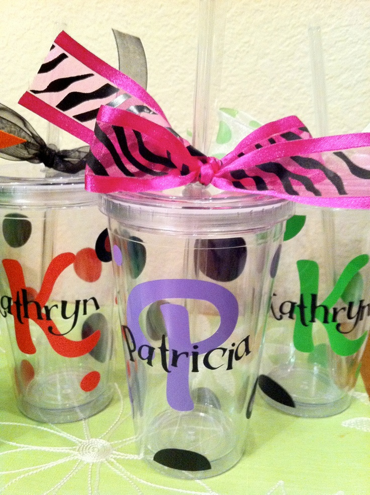Cute for the tumblers I bought at the Dollar Tree. Fill with candy for a great gift.