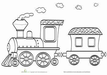 Worksheets: Toy Train Coloring Page