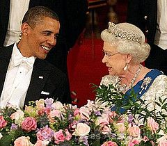 5/24/2011: President Barack Obama & Queen Elizabeth II chat during a State Banquet at Buckingham Palace (London)