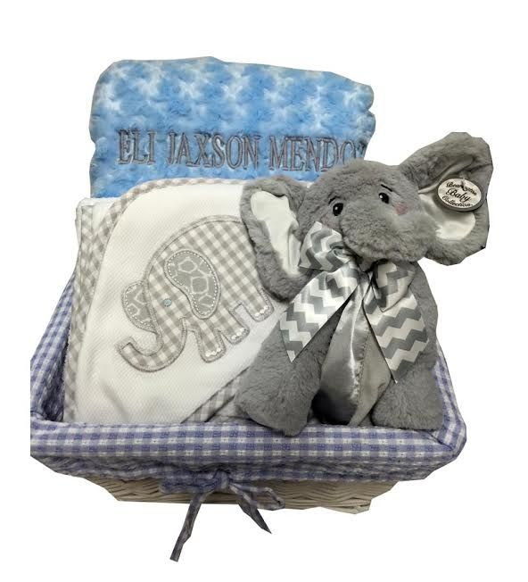 76 best baby gifts made in america images on pinterest baby gifts elephant baby gift basket with names negle Image collections