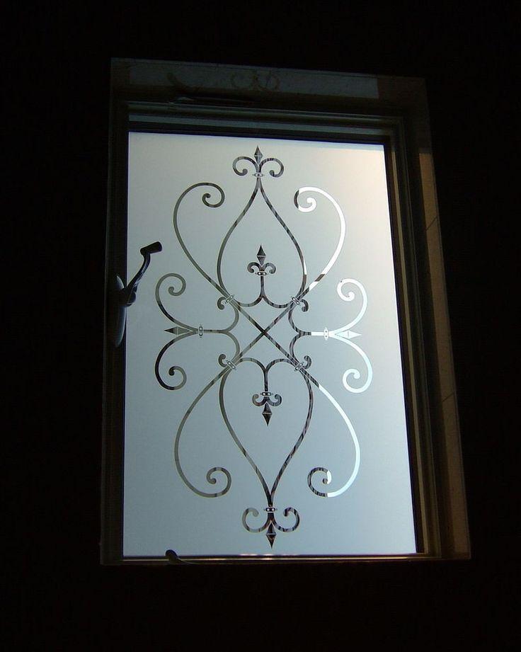 Cordoba - sandblasted decorative etched glass window ironwork motif by Sans Soucie Art Glass.