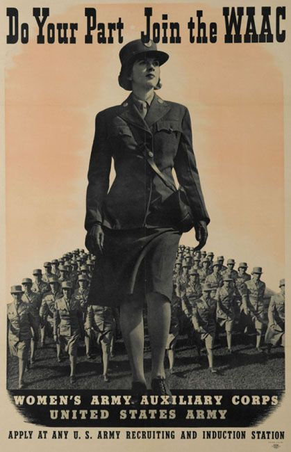 Vintage Recruitment Poster WAAC Pearl Harbor quickly put an end to the debate over accepting women directly into the Army. When faced with fighting a 2-front war, supplying men and materiel for war, military and politicians realized women could supply additional resources desperately needed in the military. The Women's Army Auxiliary Corps (WAAC) was officially established in May 1942 to provide women to fill support roles and free up more men for combat duty.