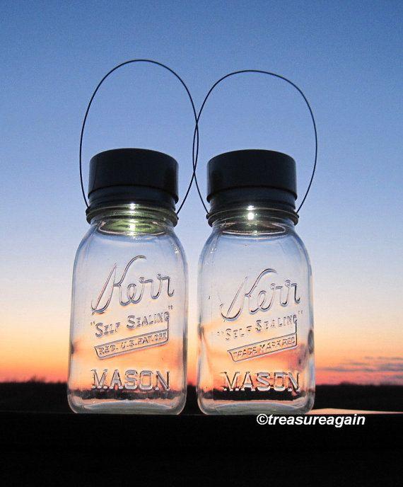 Kerr Jar Mason Solar Lights Hanging Outdoor Vintage Jar Lanterns, Quarts or Pints on Etsy, £24.00