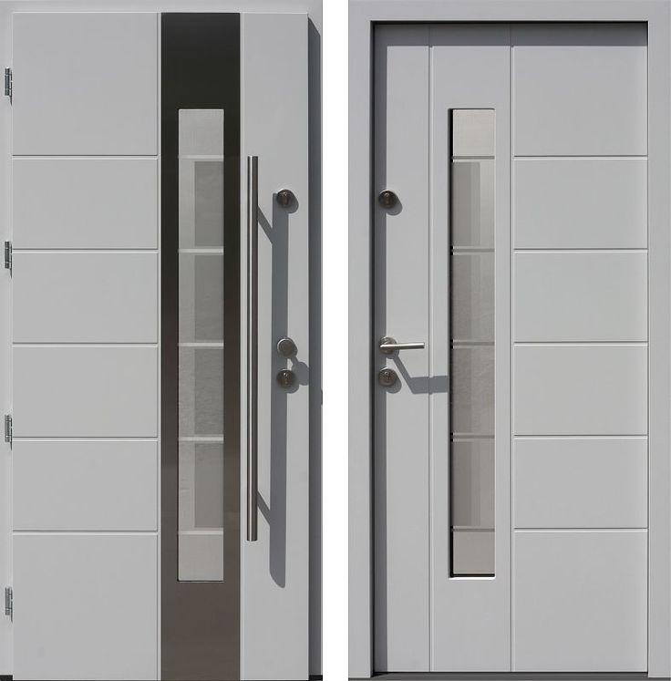Drzwi wejściowe z aplikacjamii ze stali nierdzewnej inox wzór 471,2-471,12+ds2 biale
