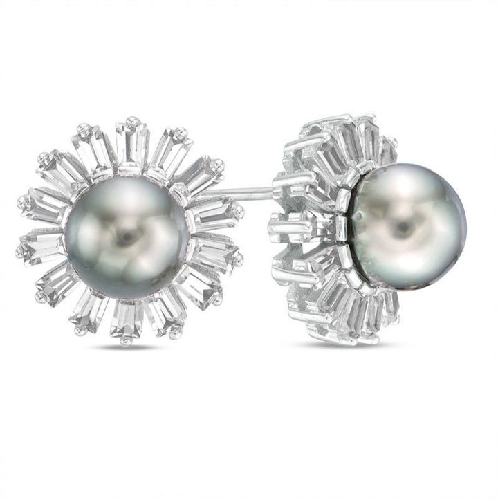 Zales 8.0mm Cultured Tahitian Pearl and Baguette Lab-Created White Sapphire Flower Frame Stud Earrings in Sterling Silver V2ttOlQW