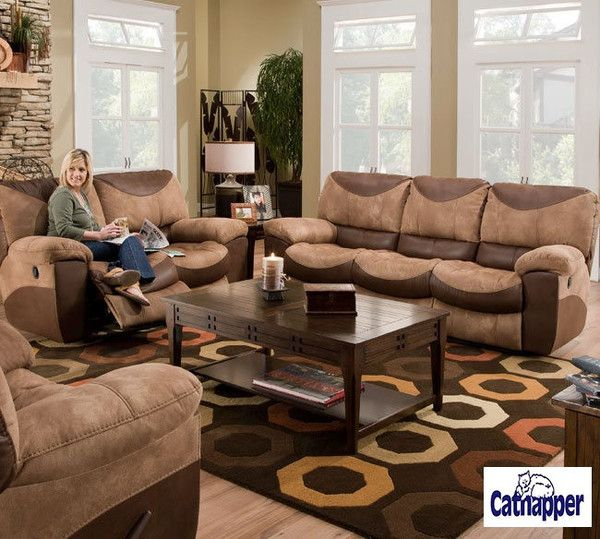 Lowest Price Online On All Catnapper Portman Reclining 3 Piece Sofa Set In Saddle And Chocolate