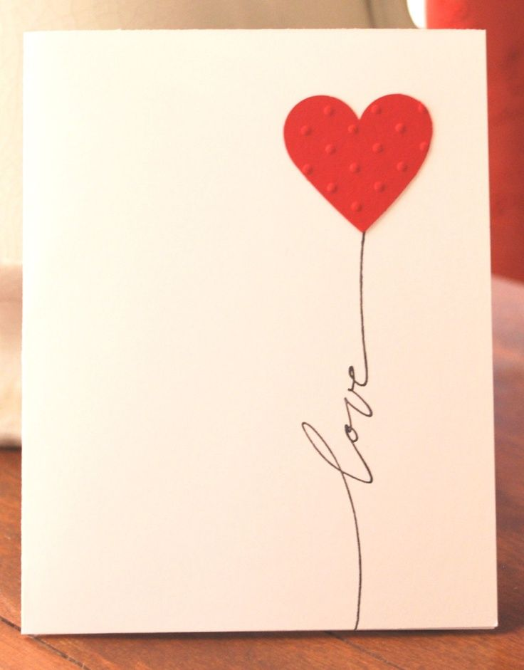 """Etsy Transaction - Hand Made Greeting Card ... clean and simple ... pink card ... heart balloon with string spelling """"love"""" ... great idea!"""