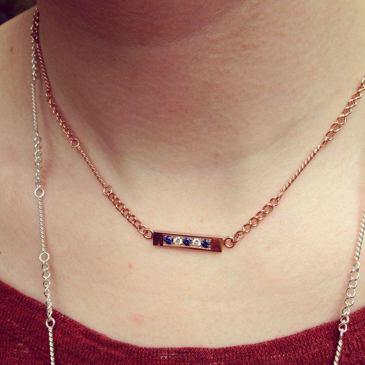 14 kt Rose Gold, Sapphires & Diamonds, fabricated