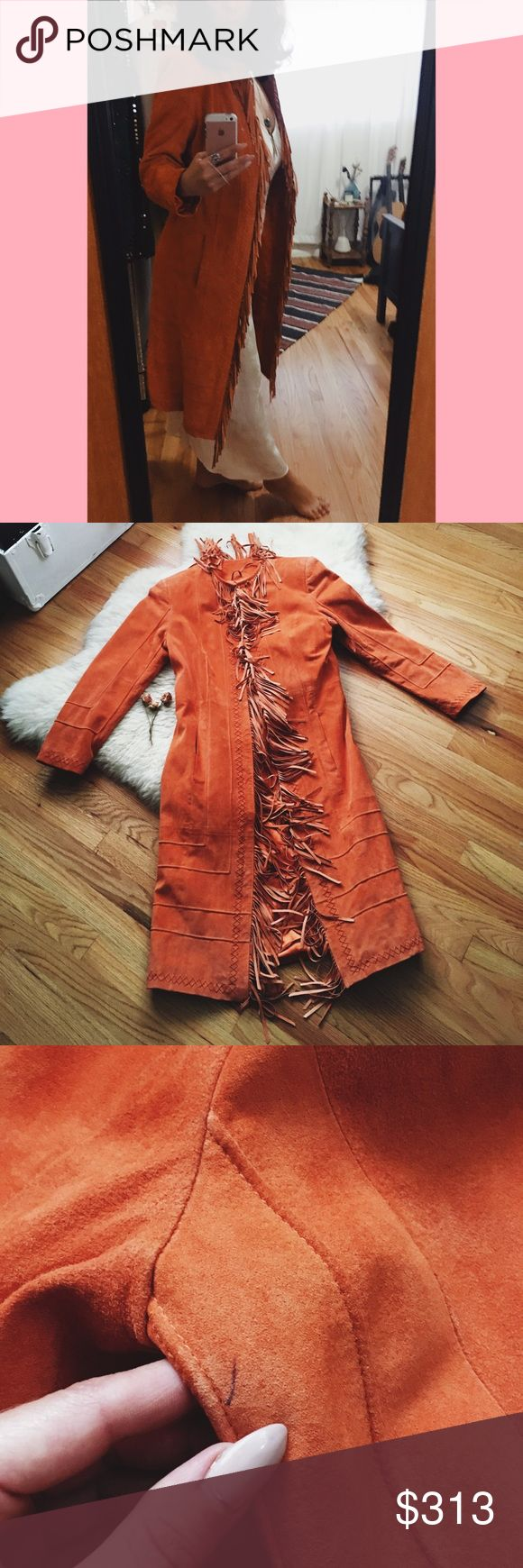 🍊Fringe Suede Jacket! 🍊 Vintage Pamela McCoy Orange 🍊 Suede Fringe Jacket! 100% Genuine Leather! This jacket is so comfy (fully lined) with beautiful stitching. It has 2 pockets as well! It's the perfect statement boho babe jacket!  Measurements coming soon but best fits a size small or medium! There is a small pen mark underneath one of the armpits. Other than that it's in perfect condition! Vintage Jackets & Coats Trench Coats