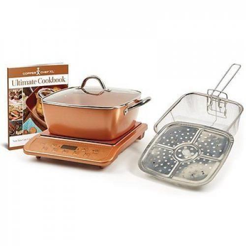 """Copper Chef XL 11"""" Casserole 5 pc Set & Induction Cooktop"""