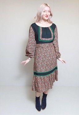 Vintage 1970's Floral Print Belted Boho Dress