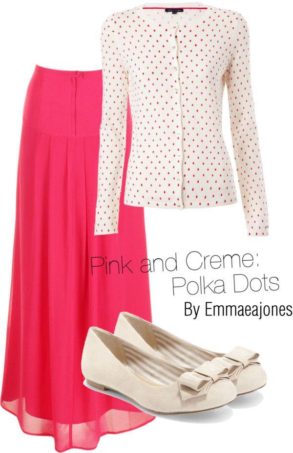 """Pink and Creme: Polka Dots"" by joyfulemma ❤ liked on Polyvore"