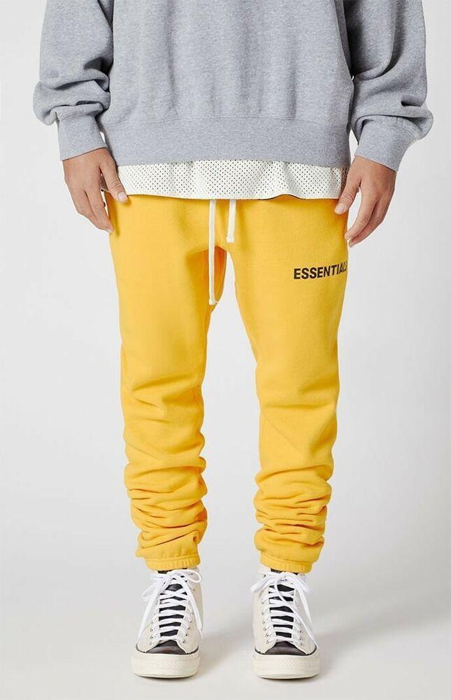 Rare Nwt Fear Of God X Pacsun Essentials Graphic Sweatpants Yellow S Small Fog Ebay Men Fashion Casual Outfits Mens Casual Outfits Sweatpants