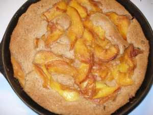 Peach cobbler in cast iron skillet....easy