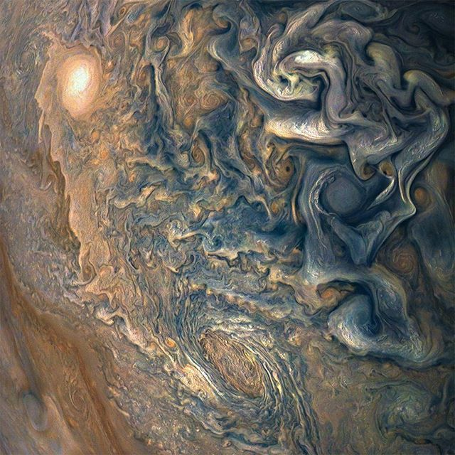 nasa Mind-bending, color-enhanced swirls of Jupiter's turbulent atmosphere can be seen in this Juno spacecraft (@NASAJuno) image of the planet. Juno captured this picture of colorful, textured clouds in Jupiter's northern hemisphere on Dec. 16, 2017 at a distance of about 8,292 miles above the cloud tops.  Citizen scientists Gerald Eichstädt and Seán Doran processed this image using data from the JunoCam imager. All of JunoCam's raw images are available for the public to peruse and process…