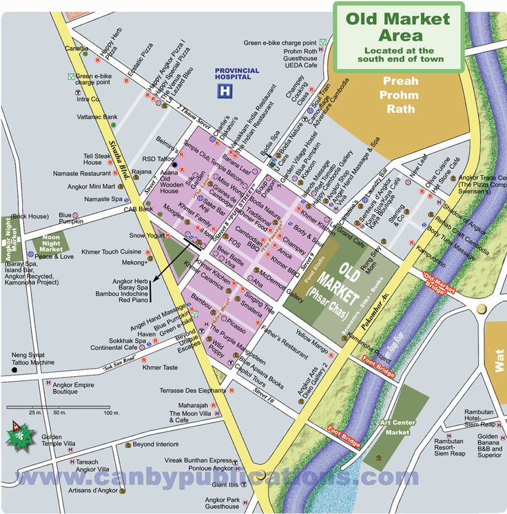 Map of Siem Reap Old Market Area, Cambodia