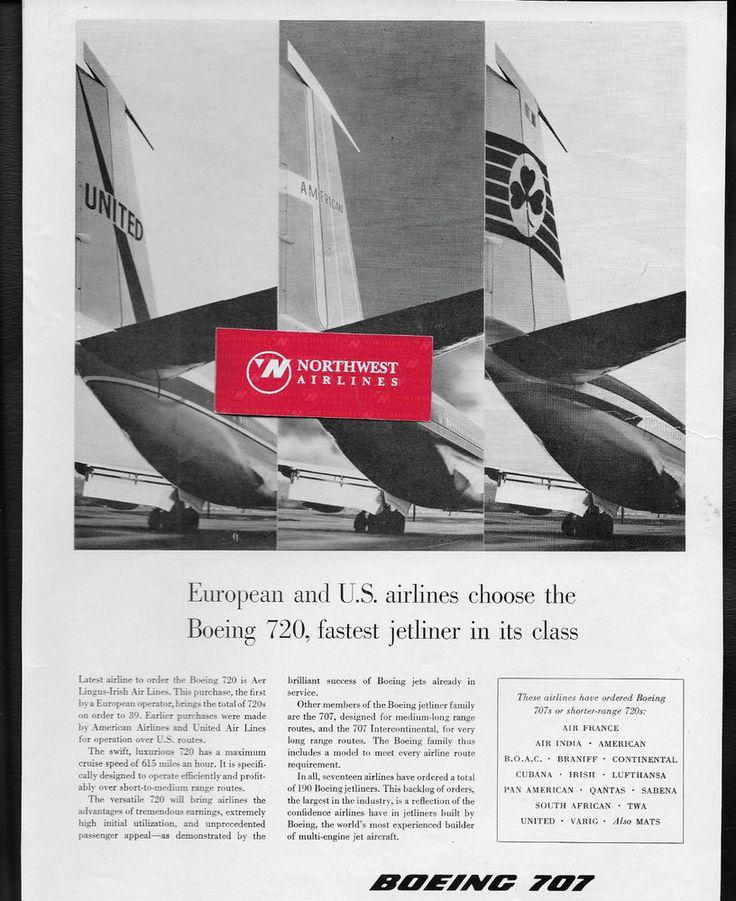 BOEING AIRCRAFT COMPANY 1959 BOEING 720 CHOSEN AMERICAN-UNITED & AER LINGUS AD