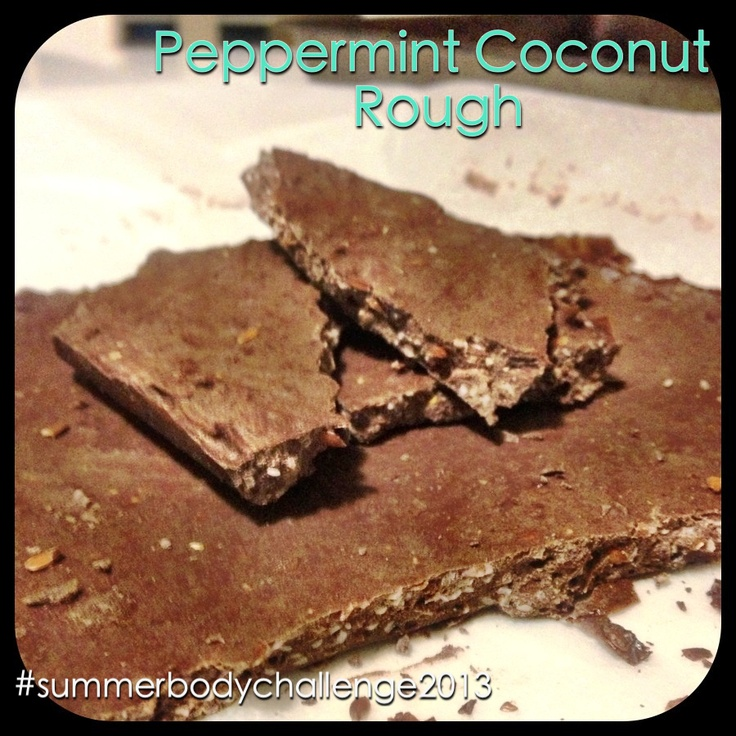 Peppermint Coconut Rough - Recipe from @My Food Religion's blog. (Yes I'm obsessed with #myfoodreligion's recipes.)  Ingredients: Protein powder Cocoa or cacao Peppermint oil  Shredded coconut  Coconut oil  The simplest recipe to make and tastes D.E-LICIOUS!! #31daytransformation #nomnomnom #summerbodychallenge2013 #crapfree