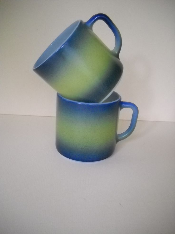 2 Federal Glass Company Blue and Green Coffee Mugs Coffee Cups by Modernaire on Etsy