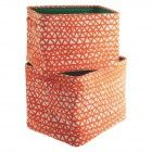 NOAH Set of 2 orange printed fabric storage boxes