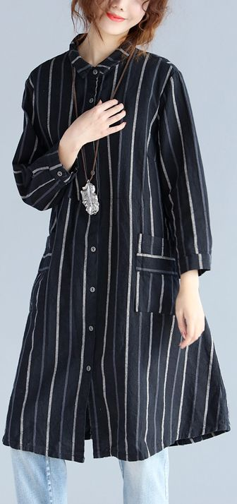 6c402a252d fashion-black-striped-pure-cotton-linen-dress-New-long-sleeve-pockets -Turn-down-Collar-knee-dresses