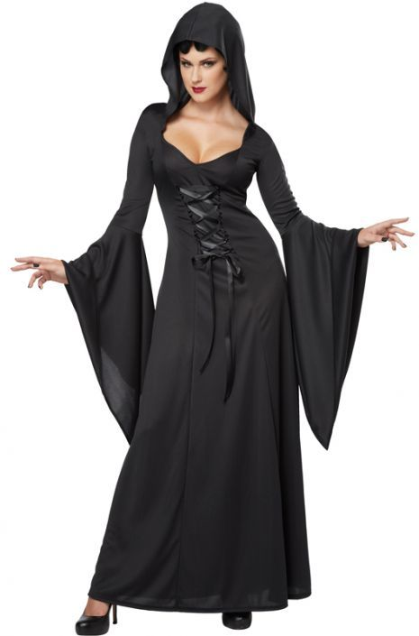 Deluxe Hooded Robe Adult Costume (Black)