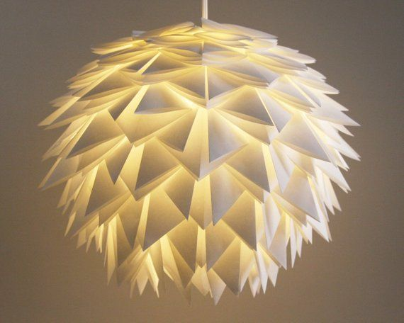 The Brooks Pendant Light White Spiky Origami Paper Hanging Etsy In 2020 Origami Lamp Hanging Lamp Shade Pendant Lamp Shade