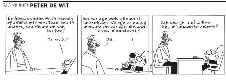 Sigmund in Volkskrant van vandaag #strip #Volkskrant #humor #grappig #witte #bruine #zwarte #waardevolle #mensen #funny #Sigmund #lachen