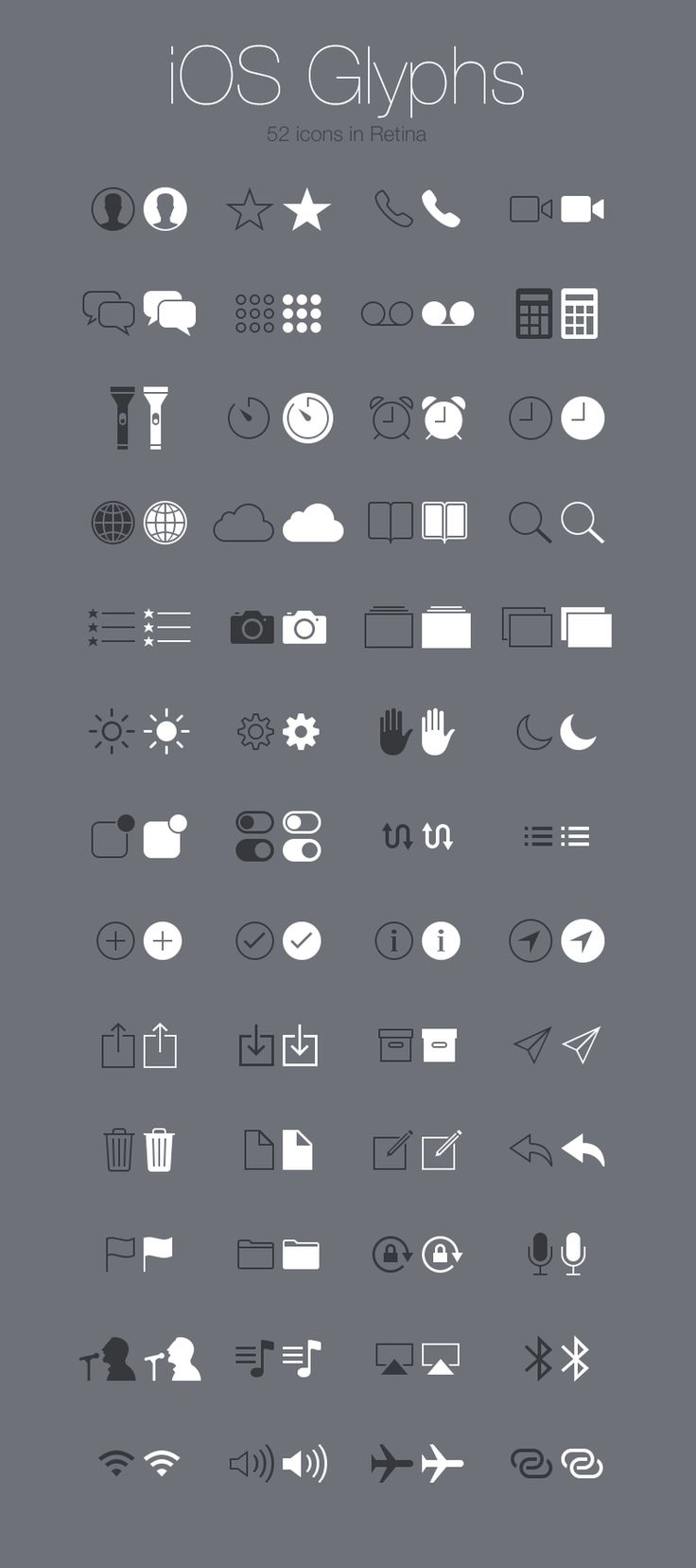 Web design freebies, Free iOS Glyphs