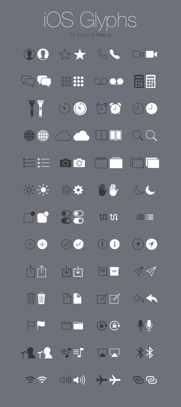 Web design freebies, Free iOS Glyphs