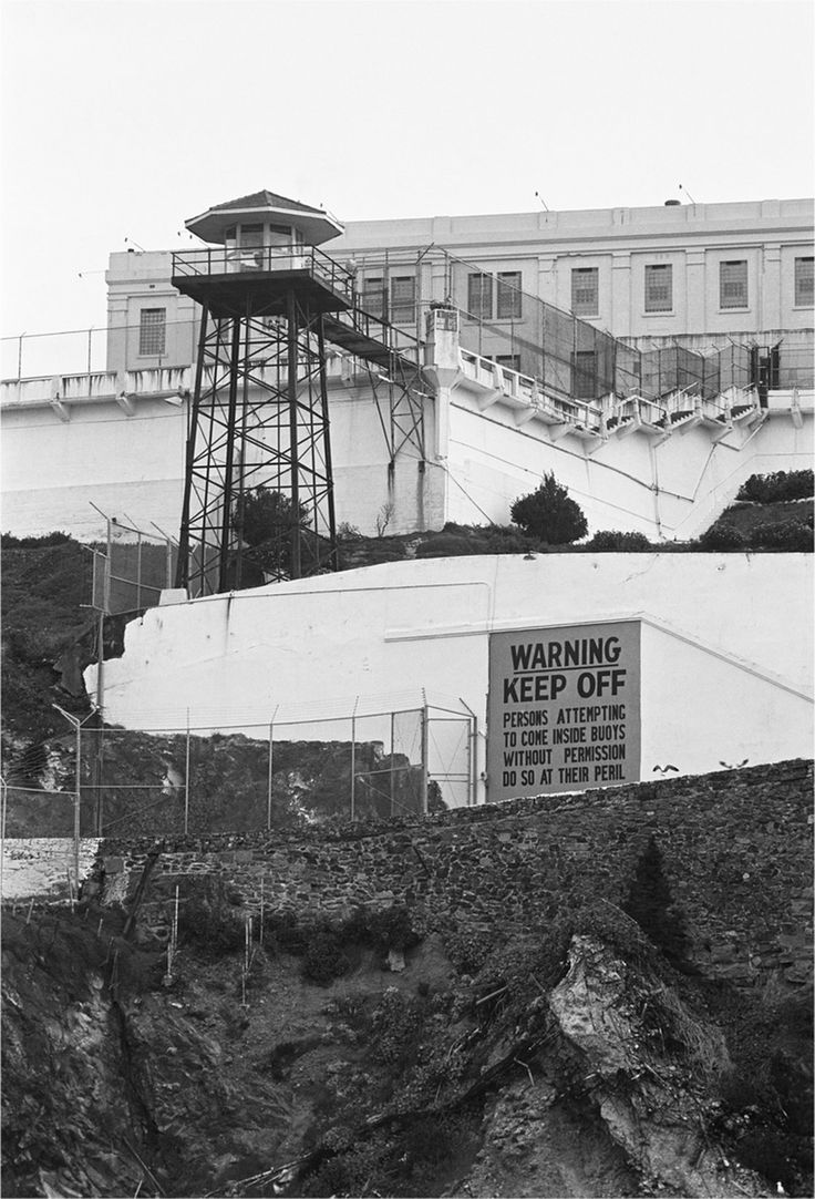 At the West Road guard tower on Alcatraz Island, all boats had to stay at least 200 yards offshore.