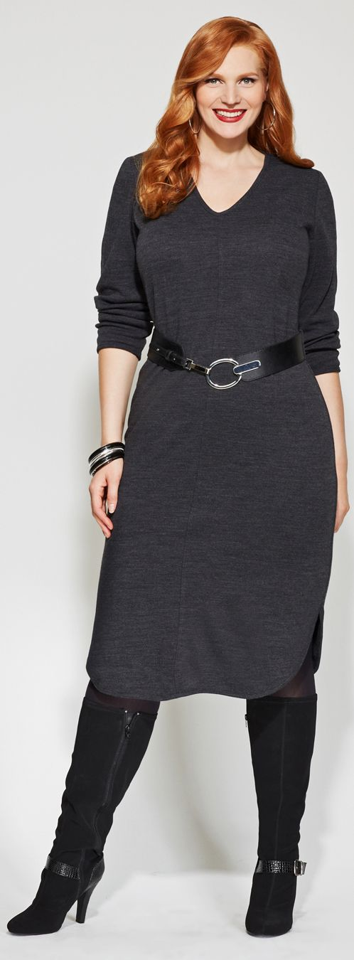 Belted Sweater Dress in Plus Size
