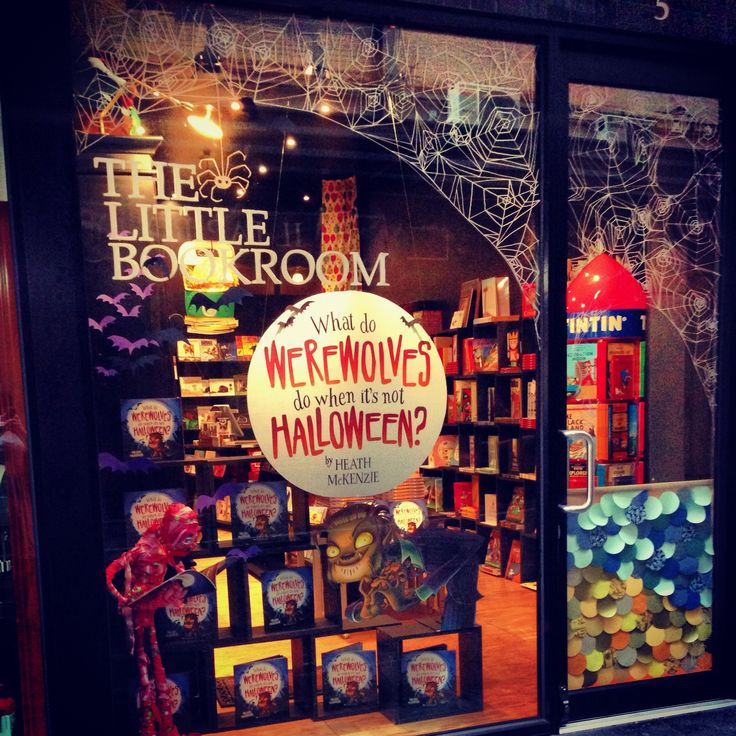 Heath McKenzie's installation in Degraves St! 'What do Werewolves do when it's not Halloween?' Hang out in bookshops, it would seem! #books #bookshop #halloween