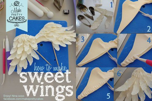 Constructing sweet angel wings - How I make them stick - by makeprettycakes @ CakesDecor.com - cake decorating website