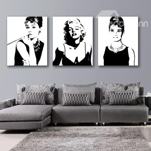 New Arrival Beautiful Marilyn Monroe and Audrey Hepburn Print 3-piece Cross Film Black Wall Art Prints  on sale, Buy Retail Price Prints at Beddinginn.com