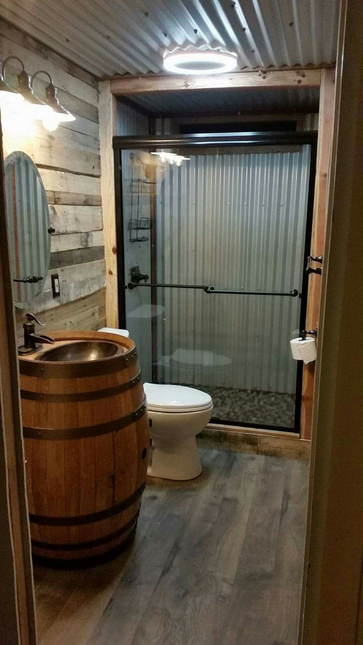Barn tin bathroom