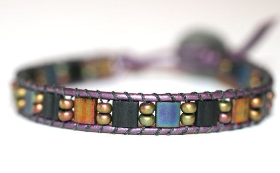 Multi Colored Mosaic Tila Beaded Handmade Single Leather by MindyG, $36.00
