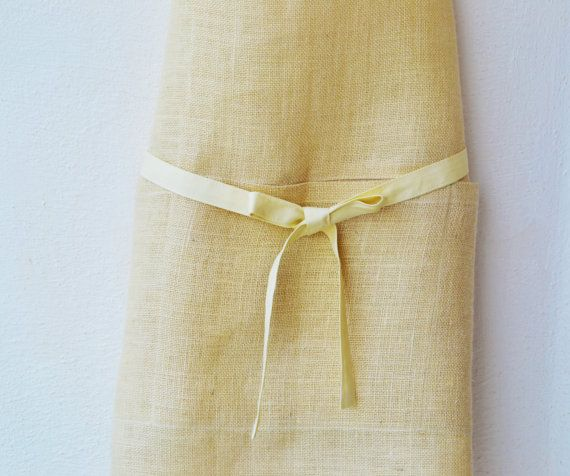 Ivory Burlap Aprons Full Kitchen Apron for Women  by AmoreBeaute