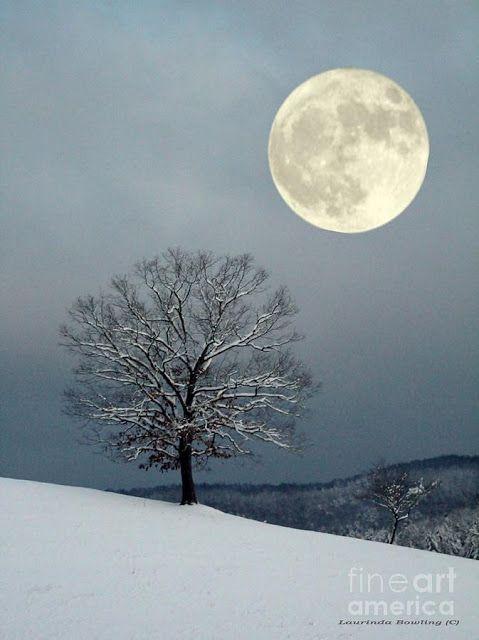 winter snow mountain moon - photo #22