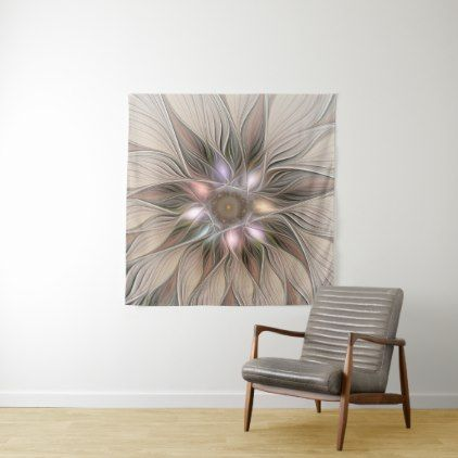 Joyful Flower Abstract Beige Brown Floral Fractal Tapestry - personalize gift idea special custom diy or cyo
