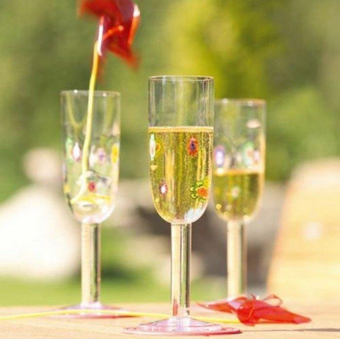 Leonardo wine glass architecture of the wine glass flute Champagne of millefiori scene