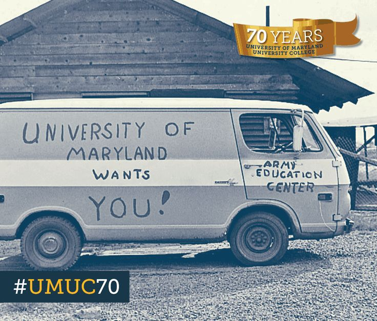 A van serves as a mobile advertisement for the University of Maryland educational program at Long Binh army post in Viet Nam. #ThrowbackThursday #umuc70