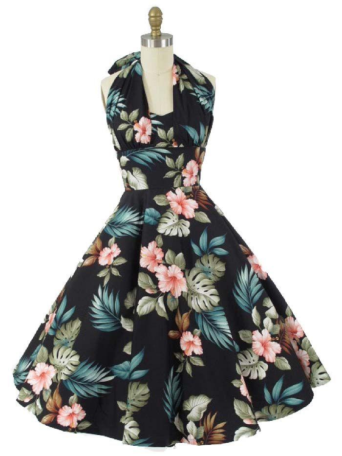 1950's Reproduction Black Hawaiian Print Dress  #halterdress #Hawaiiandress #50sStyleDresses