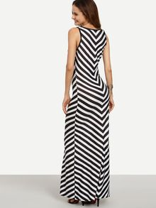 Black White Chevron Print Maxi Tank Dress -SheIn(Sheinside)