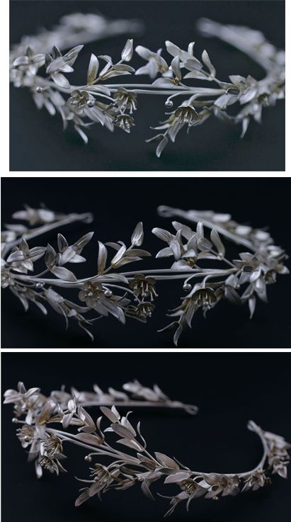 Antique silver bridal tiara, c1890 - 1900. From Central Europe (Germany or Austria)