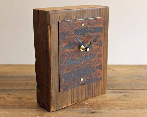 Chimenea industrial reloj escritorio rústico de salvamento de